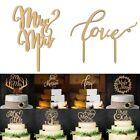 New Retro Wooden Mr&Mrs Bride&Groom Wood Cake Topper Party Wedding