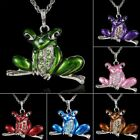 Retro 6Colors Frog Animal Crystal Long Chain Sweater Pendant Necklace Women Gift image