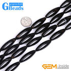 """10x30mm Oval Black White Banded Agate Jewelry Making Beads Strand 15"""" Free Ship"""