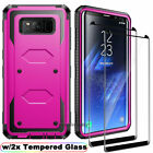 For Samsung Galaxy S8 / S8+ Thin Case Cover with Tempered Glass Screen Protector