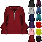 Women Ladies V Neck Oversized Zip Up Peplum Ruffle Double Frill Sleeve Baggy Top