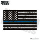 Tattered Thin Blue Line American Subdued Flag Decal Sticker (RH) EVM