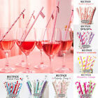 25Pc Mixed Drink Paper Straws Birthday Wedding Party Decor Theme Kid Baby Shower