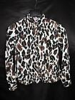 Foxcroft 2P Fitted White Brown Black Print Shirt Long Sleeve Cotton 2 Petite P