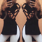 Women Stylish Cotton Blend Strapless Hollow Long Sleeve Blouse Casual T-shirt