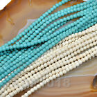 """Blue & White Turquoise Loose Gemstone Beads 16"""" 2mm 3mm 4mm Pick"""