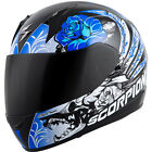 Scorpion Exo-R410 Novel Full Face Motorcycle Helmet Black/Blue Adult Sizes