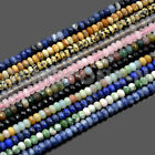 Faceted 4x6mm & 5x8mm Natural Gemstone Rondelle Spacer Loose Beads Strand 15.5""