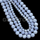 "Natural Blue Chalcedony Gemstone Round Beads 15.5"" 4mm 6mm 8mm 10mm 12mm"