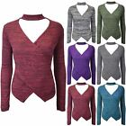 Womens Ladies Marl Knitted Choker V Neck Wrap Over Long Sleeve Keyhole Cut Top