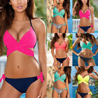Sexy Womens Cross Tops Push Up Bra Bikini Tankinis Beachwear Bikini Swimwear Set