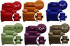 Microfiber Children's Personalized Contemporary Recliner with Storage Arms