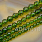 """6mm 8mm 10mm 12mm Smooth Round Green Peridot Gemstone Loose Beads 15.5"""""""