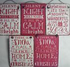 Christmas Shabby Chic Metal Hanging Decoration Sign (snow, Silent Night,)