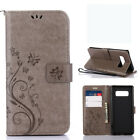 Emboss Butterfly Pattern Leather Wallet Card Stand Case Flip Cover For Samsung