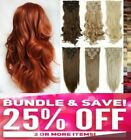 Long Short Full Head Hair Extensions Blonde Black Brown Red plum Ginger Silver