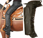 BLACK SMOOTH LEATHER WESTERN HORSE SHOW SADDLE MOTORCYCLE CHAPS S M XXL