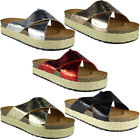 Womens Ladies Comfy Sliders Flats Shoes Slides Espadrilles Shiny Slippers Size