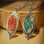 Retro Bronze Transparent Glass Resin Dried Flower Pendant Necklace Chain Jewelry