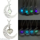 1PC Fashion Womens Silver Tone Hollow Out Luminous Moon Love Necklace