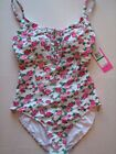 NWT Betsey Johnson  GARDEN ROSE Laced Front Maillot Swim Bathing Suit M