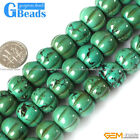 """Natural Old Turquoise Gemstone Pumpkin Beads For Mala Jewelry Making Strand 15"""""""