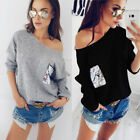 Sexy Femmes Pull Chandail Manches Longues Tricot Casual Lâche Jumper Blouse Tops