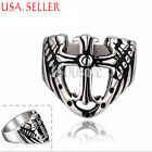 316L Stainless Steel 3-D See-through Skull Carved Cross 19mm Wide Ring E803