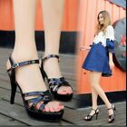 Strappy Womens Mules Shoes 11cm Stilettos Heel Open Toe Sandals Sexy Model Club