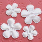 "Mix (1"" - 1.5"") Snow White Padded Satin Spring Flower Appliques Wedding ST568"
