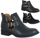 Womens Ladies Cutout Buckle Low Heel Work Chelsea Ankle Boots Flat Shoes Size