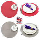 8pcs Jacquard Weaved Round Non Slip Placemats Dining Table Mats UK New