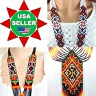 NEW HANDMADE BEADED NATIVE STYLE LONG FASHION NECKLACE EARRINGS SET