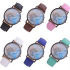 Women 's Fashion Map Leather Band Analog Quartz Round Wrist Watch Watches New