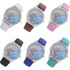 Fashion Women Rhinestone Leather Crystal Dial Quartz Bracelet Bangle Wrist Watch
