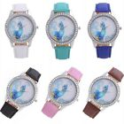 Women Faux Leather Bracelet Wrist Analog Quartz Crystal Rhinestone Dial Watch