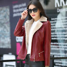 Women PU Leather Blazer Collar Fur Lined Warm Thick Coat Slim Short Jacket Parka