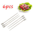6/10Pc BBQ Barbecue Stainless Steel Kabob Kebab Skewers Needle Picnic Flat Ring