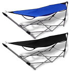 Portable Folding Hammock Steel Stand Camping Outdoor Swing Chair Bed Blue/Black✓