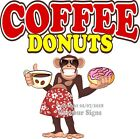 Coffee Donuts DECAL (Choose Your Size) Monkey Concession Food Sticker