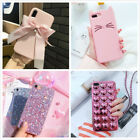 Girly Pink Cute Glitter Kitten Protective Phone Case Cover For iPhone X 8 7 Plus