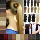 UK Real Hair Wrap Around Ponytail Clip In Hair Extensions Thick As Human Hair Fy