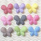 "50-90pcs x 1.4"" Padded Gingham Cotton Butterfly Appliques for Headband Bow ST452"