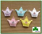 "60 pcs x 1"" Padded Shiny Felt Crown Appliques w/Star for Baby Shower Card ST163"
