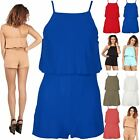 New Womens Ladies Open Back Frill Square Neck All in One Shorts Strappy Playsuit