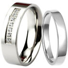925 Sterling Silver Plain Flat Wedding Ring & Stainless Steel CZ 6 mm Band Set