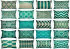 "12x20"" Turquoise Blue Vintage Sofa Couch Throw PILLOW COVER Retro Cushion Case"