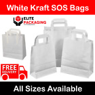 Large White Kraft Paper SOS Carrier Bags Flat Handles Takeaway Gifts Food Safe