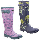 Cotswold Windsor Print Ladies Wellingtons Dog Flower Adjustable Calf Wellies