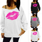 Damen Schulterfrei Langarm Pulli Lose Sweater Jumper Sweatshirt Baggy Top Bluse